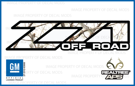 Chevy Silverado Z Off Road Decals Realtree APS Snow Camo - Chevy silverado stickers